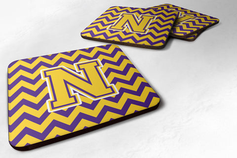 Buy this Letter N Chevron Purple and Gold Foam Coaster Set of 4 CJ1041-NFC
