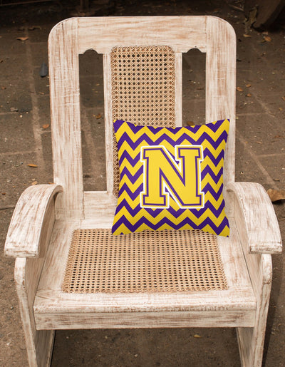 Letter N Chevron Purple and Gold Fabric Decorative Pillow CJ1041-NPW1414