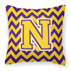 Buy this Letter N Chevron Purple and Gold Fabric Decorative Pillow CJ1041-NPW1414