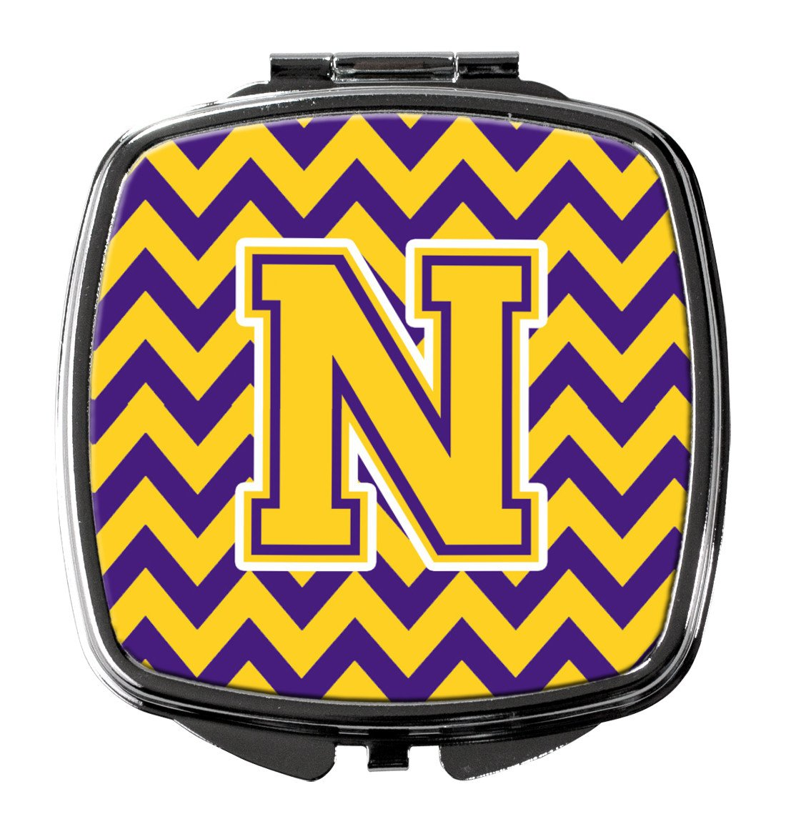 Letter N Chevron Purple and Gold Compact Mirror CJ1041-NSCM by Caroline's Treasures