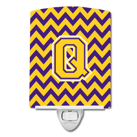 Buy this Letter Q Chevron Purple and Gold Ceramic Night Light CJ1041-QCNL