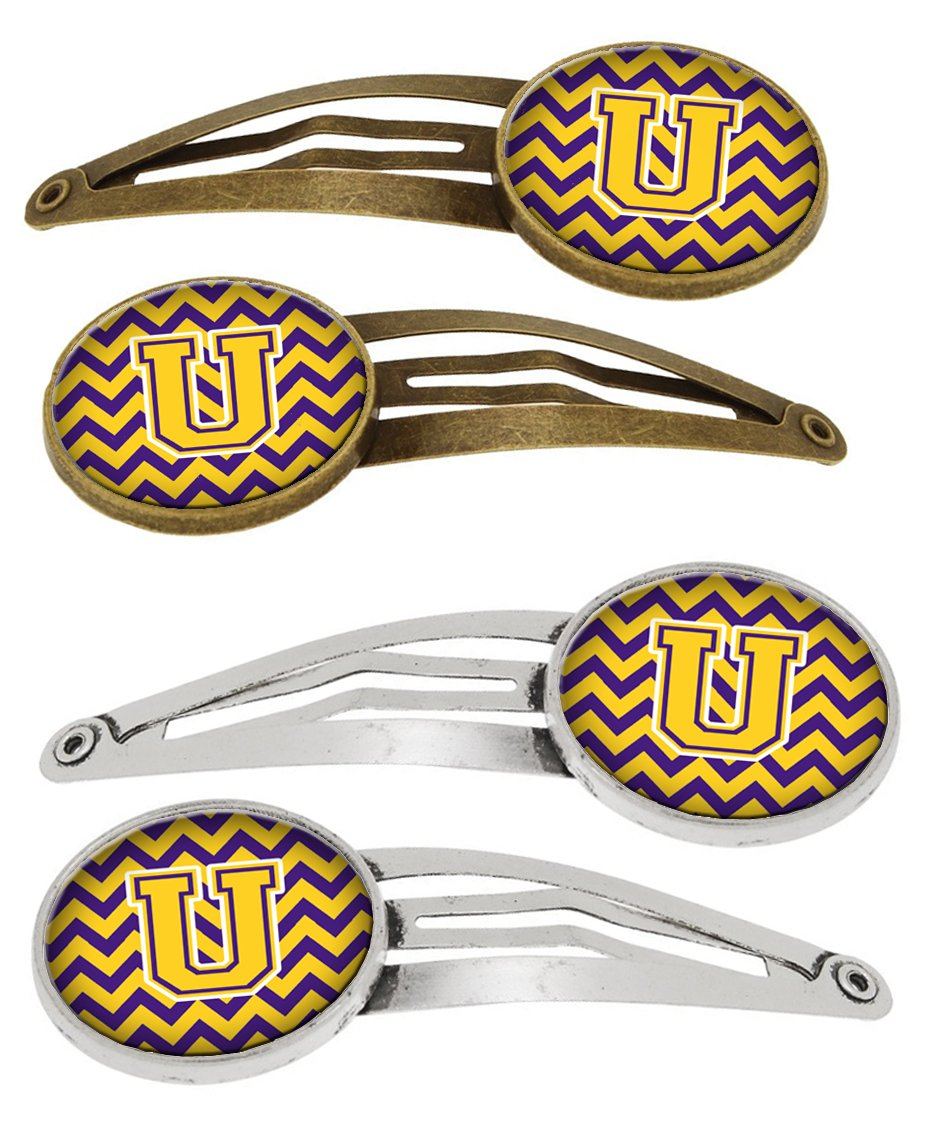 Buy this Letter U Chevron Purple and Gold Set of 4 Barrettes Hair Clips CJ1041-UHCS4