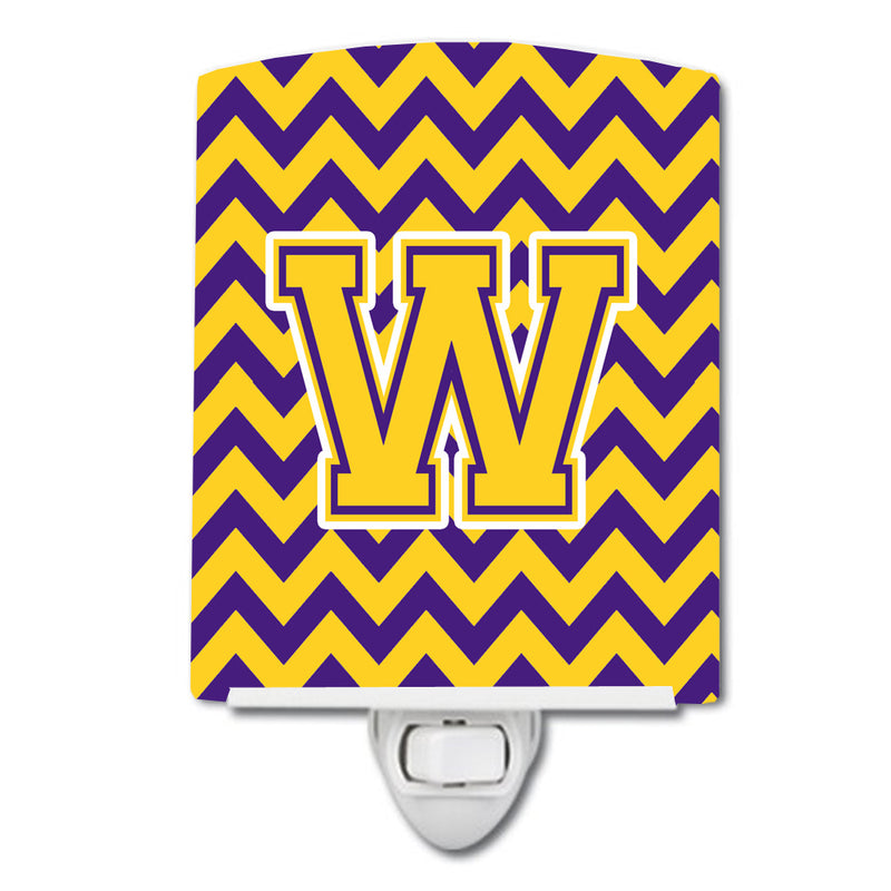 Buy this Letter W Chevron Purple and Gold Ceramic Night Light CJ1041-WCNL