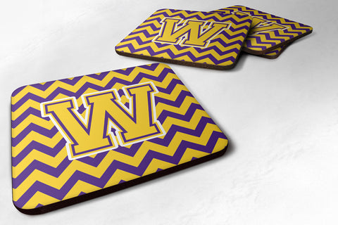 Buy this Letter W Chevron Purple and Gold Foam Coaster Set of 4 CJ1041-WFC