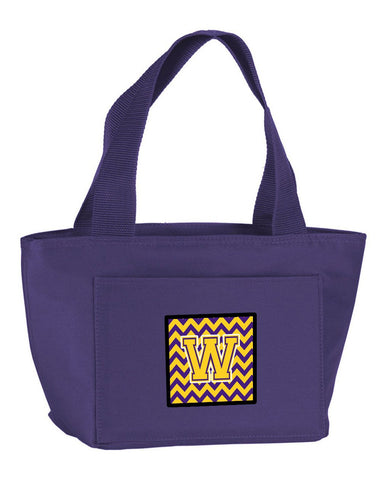Buy this Letter W Chevron Purple and Gold Lunch Bag CJ1041-WPR-8808