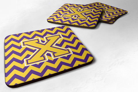 Buy this Letter X Chevron Purple and Gold Foam Coaster Set of 4 CJ1041-XFC