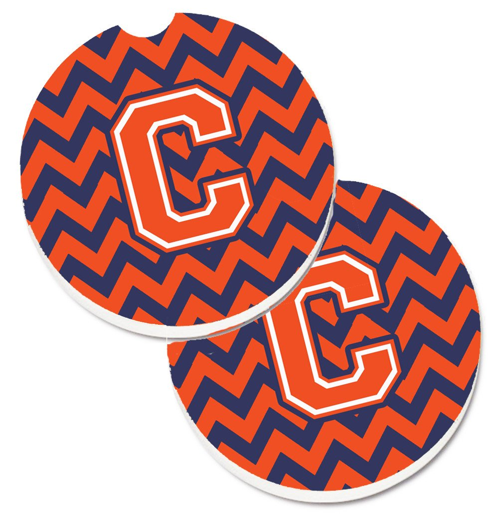 Letter C Chevron Orange and Blue Set of 2 Cup Holder Car Coasters CJ1042-CCARC by Caroline's Treasures