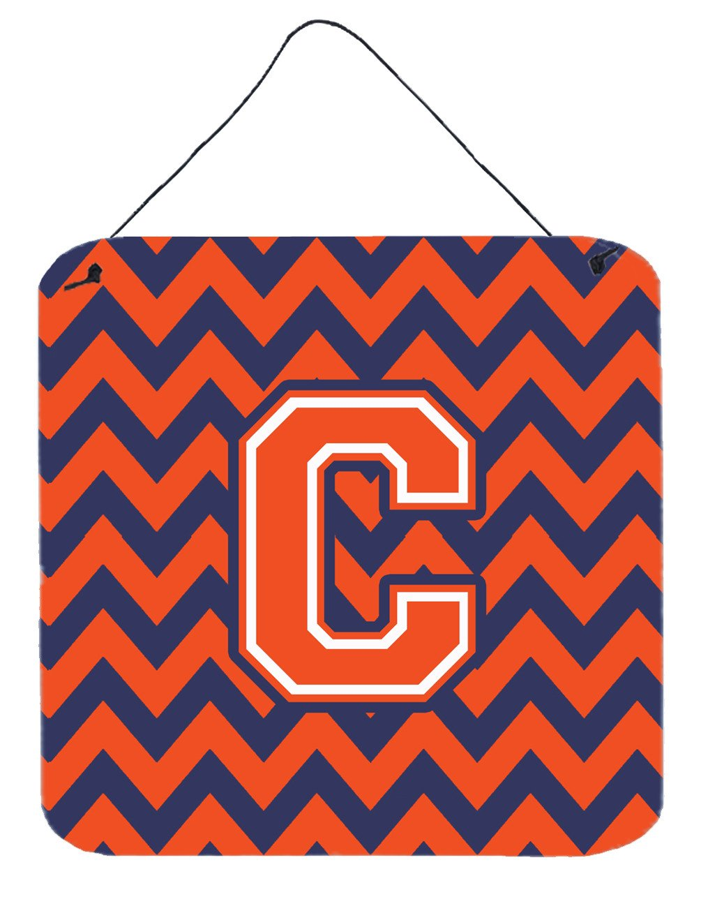 Letter C Chevron Orange and Blue Wall or Door Hanging Prints CJ1042-CDS66 by Caroline's Treasures