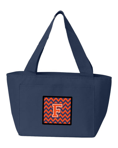 Buy this Letter F Chevron Orange and Blue Lunch Bag CJ1042-FNA-8808