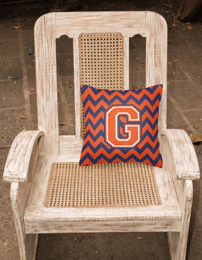 Letter G Chevron Orange and Blue Fabric Decorative Pillow CJ1042-GPW1414