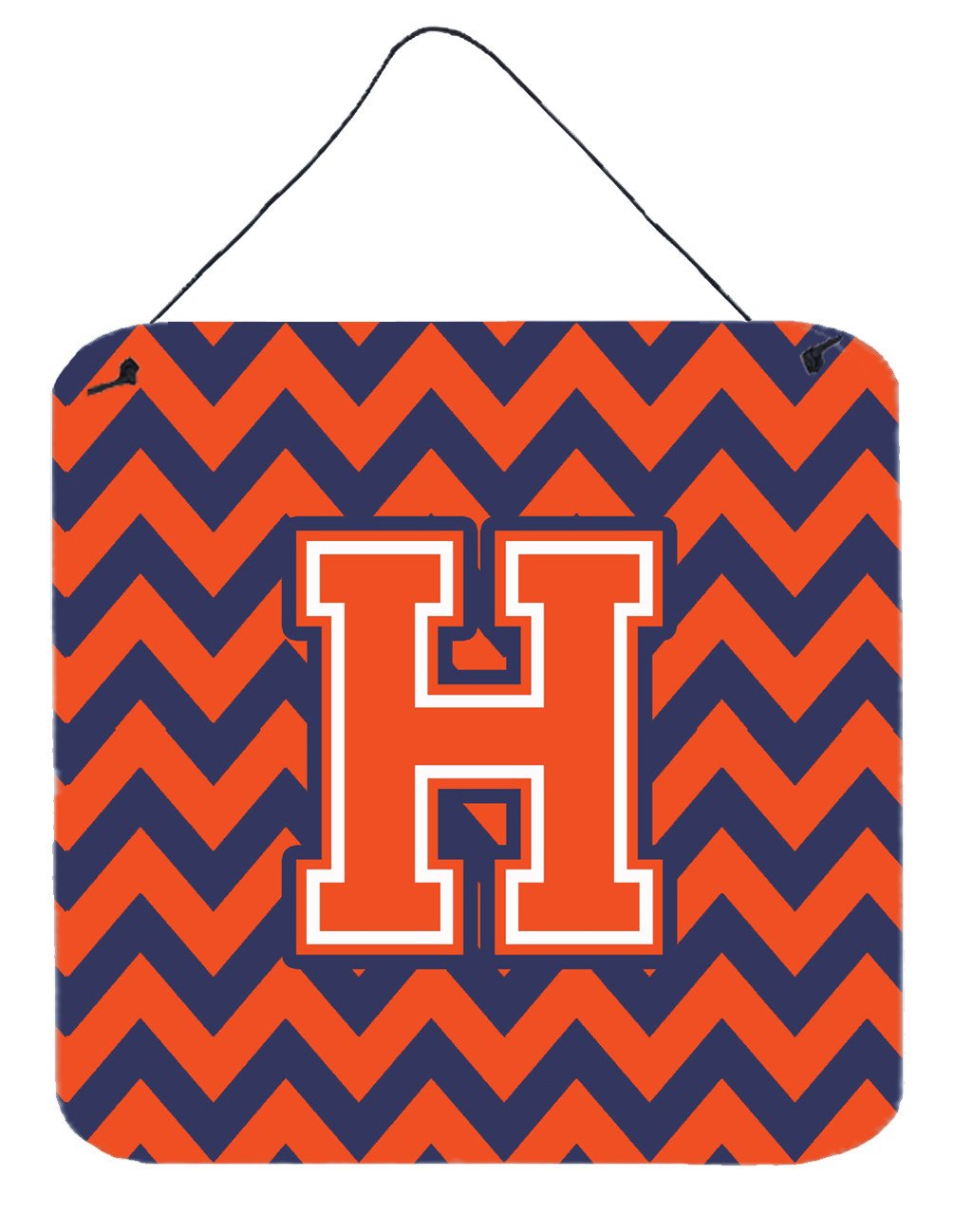 Letter H Chevron Orange and Blue Wall or Door Hanging Prints CJ1042-HDS66 by Caroline's Treasures
