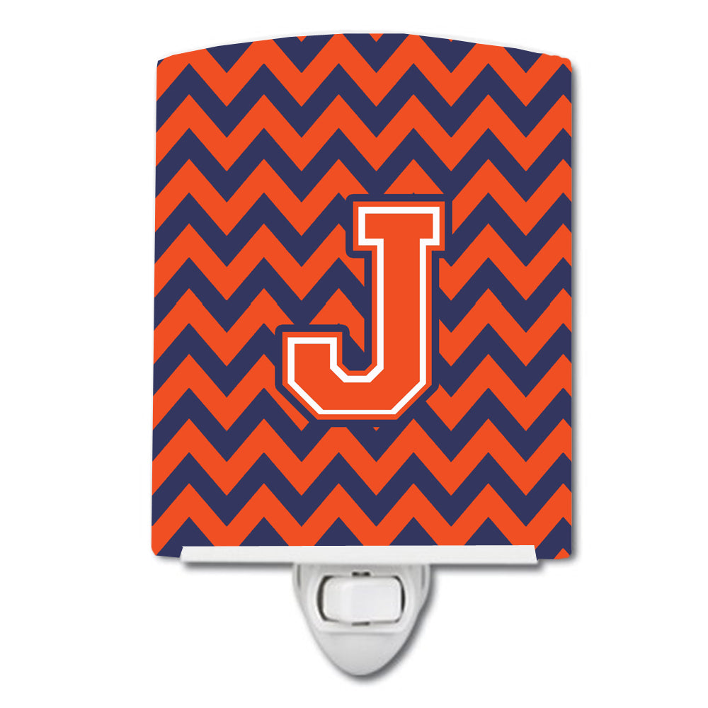 Letter J Chevron Orange and Blue Ceramic Night Light CJ1042-JCNL by Caroline's Treasures