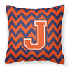 Letter J Chevron Orange and Blue Fabric Decorative Pillow CJ1042-JPW1414 - the-store.com