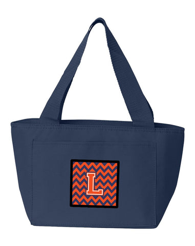 Buy this Letter L Chevron Orange and Blue Lunch Bag CJ1042-LNA-8808