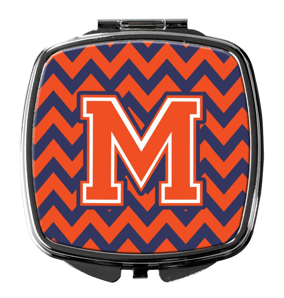 Letter M Chevron Orange and Blue Compact Mirror CJ1042-MSCM by Caroline's Treasures