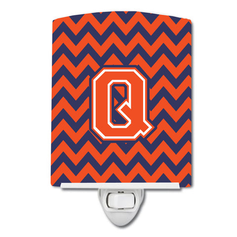 Buy this Letter Q Chevron Orange and Blue Ceramic Night Light CJ1042-QCNL