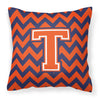 Letter T Chevron Orange and Blue Fabric Decorative Pillow CJ1042-TPW1414 - the-store.com