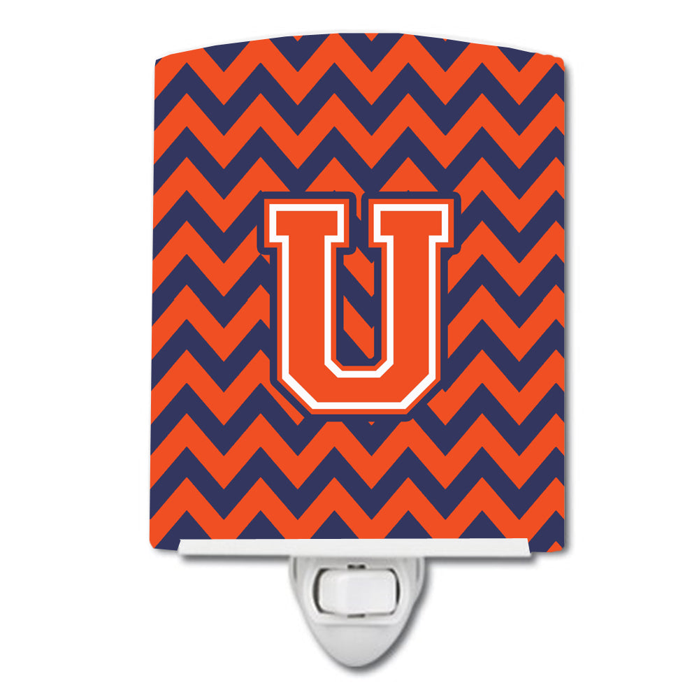 Buy this Letter U Chevron Orange and Blue Ceramic Night Light CJ1042-UCNL