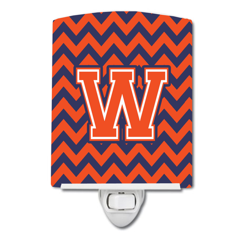 Buy this Letter W Chevron Orange and Blue Ceramic Night Light CJ1042-WCNL
