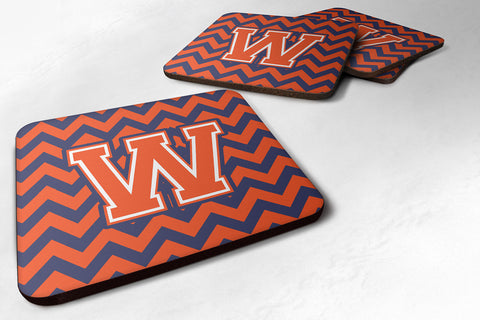 Buy this Letter W Chevron Orange and Blue Foam Coaster Set of 4 CJ1042-WFC