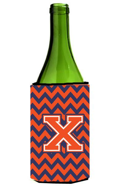 Letter X Chevron Orange Blue Wine Bottle Beverage Insulator Hugger CJ1042-XLITERK by Caroline's Treasures