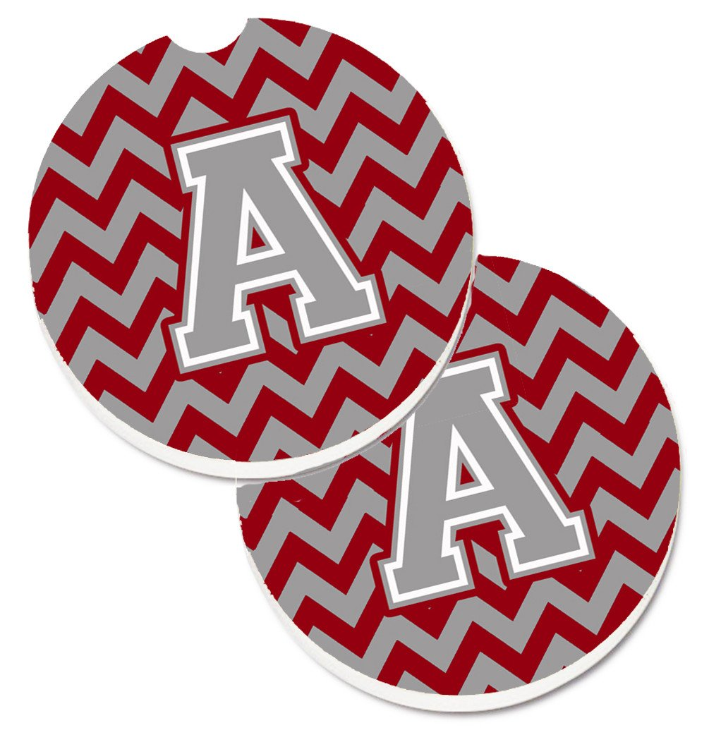 Letter A Chevron Crimson and Grey   Set of 2 Cup Holder Car Coasters CJ1043-ACARC by Caroline's Treasures