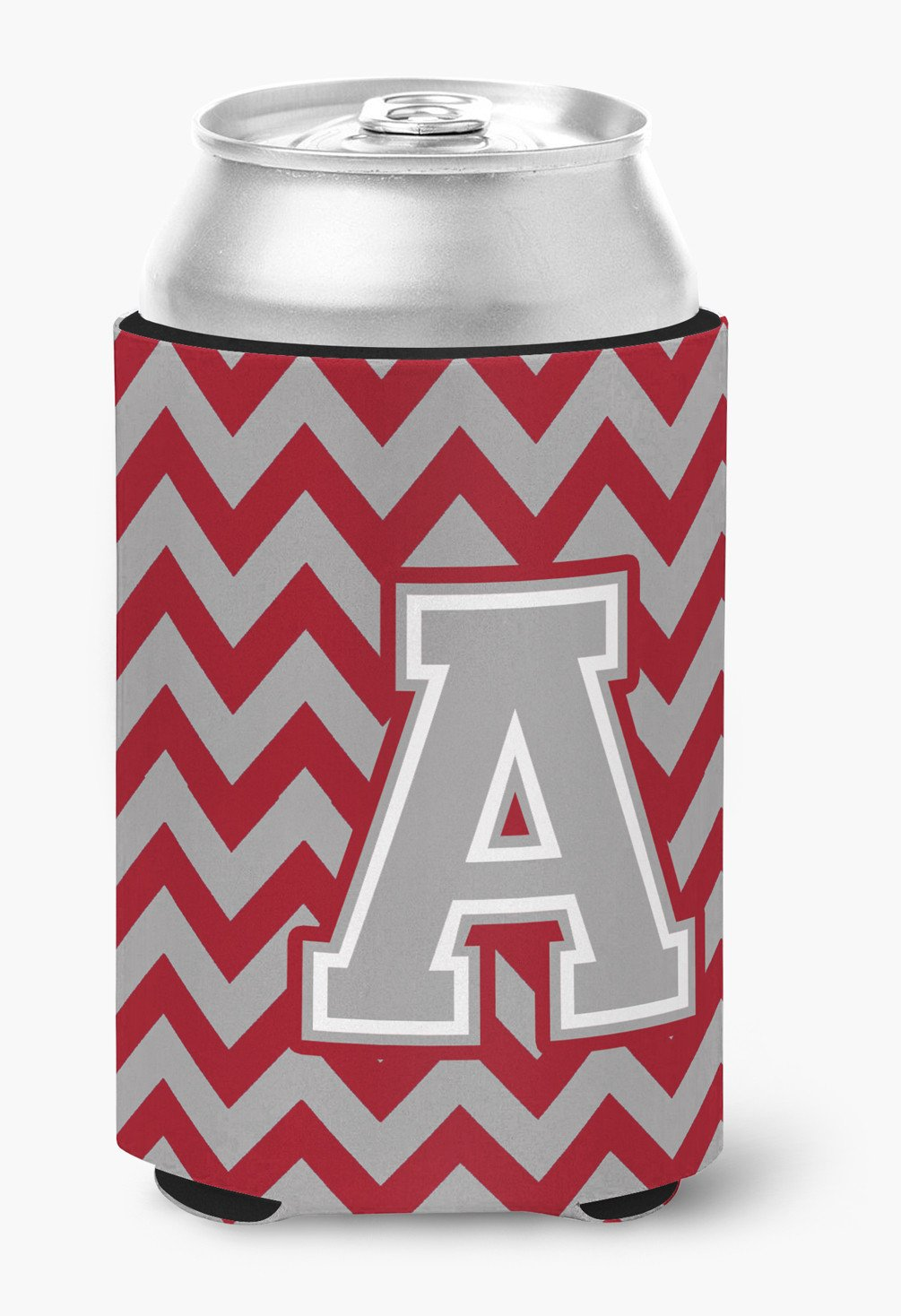 Letter A Chevron Crimson and Grey   Can or Bottle Hugger CJ1043-ACC by Caroline's Treasures