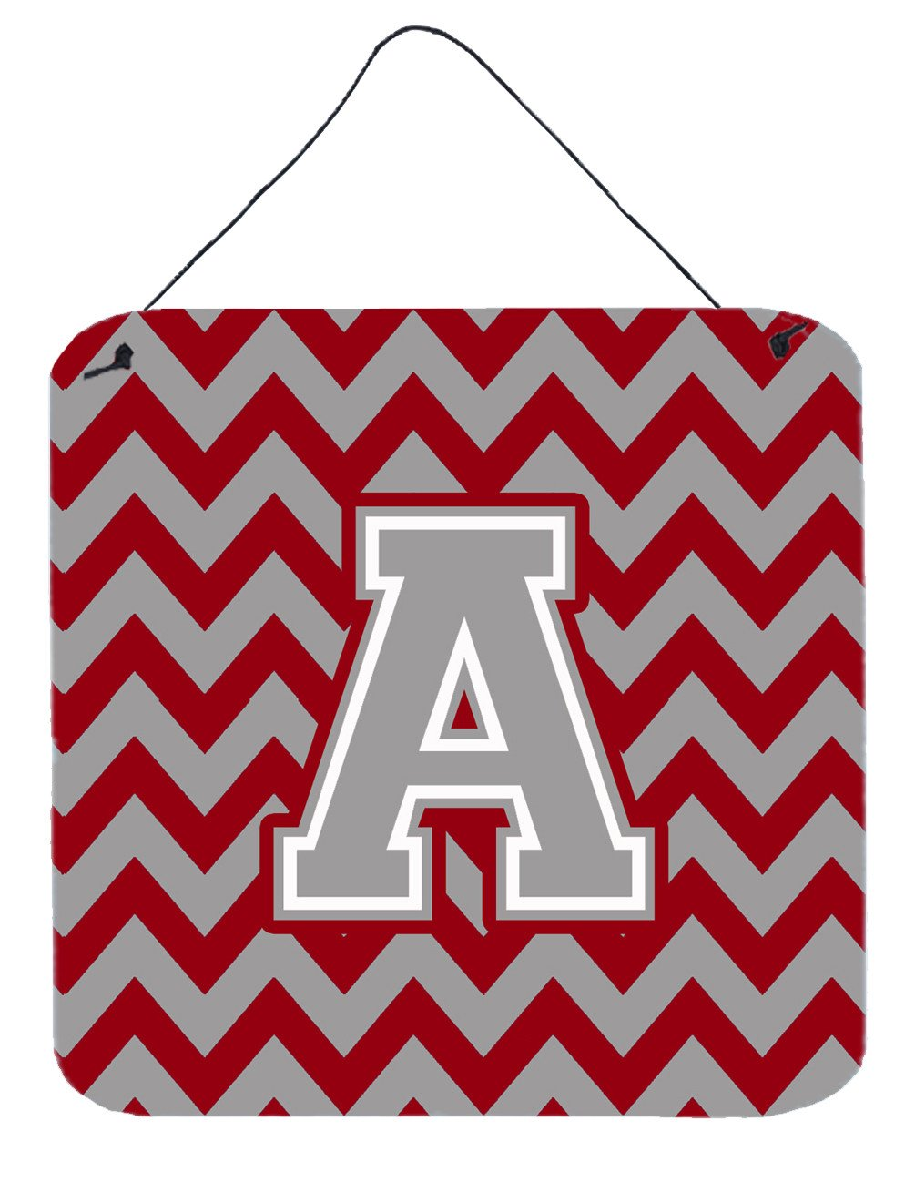 Letter A Chevron Crimson and Grey   Wall or Door Hanging Prints CJ1043-ADS66 by Caroline's Treasures