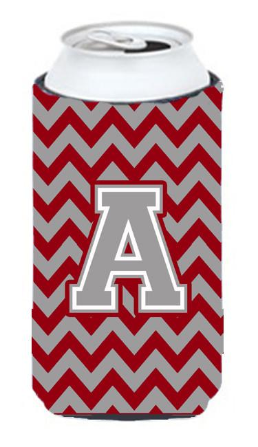 Letter A Chevron Crimson and Grey   Tall Boy Beverage Insulator Hugger CJ1043-ATBC by Caroline's Treasures