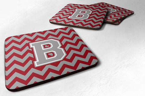 Buy this Letter B Chevron Crimson and Grey   Foam Coaster Set of 4 CJ1043-BFC