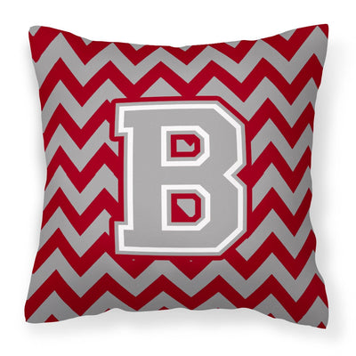 Buy this Letter B Chevron Crimson and Grey   Fabric Decorative Pillow CJ1043-BPW1414