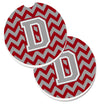 Letter D Chevron Crimson and Grey   Set of 2 Cup Holder Car Coasters CJ1043-DCARC by Caroline's Treasures