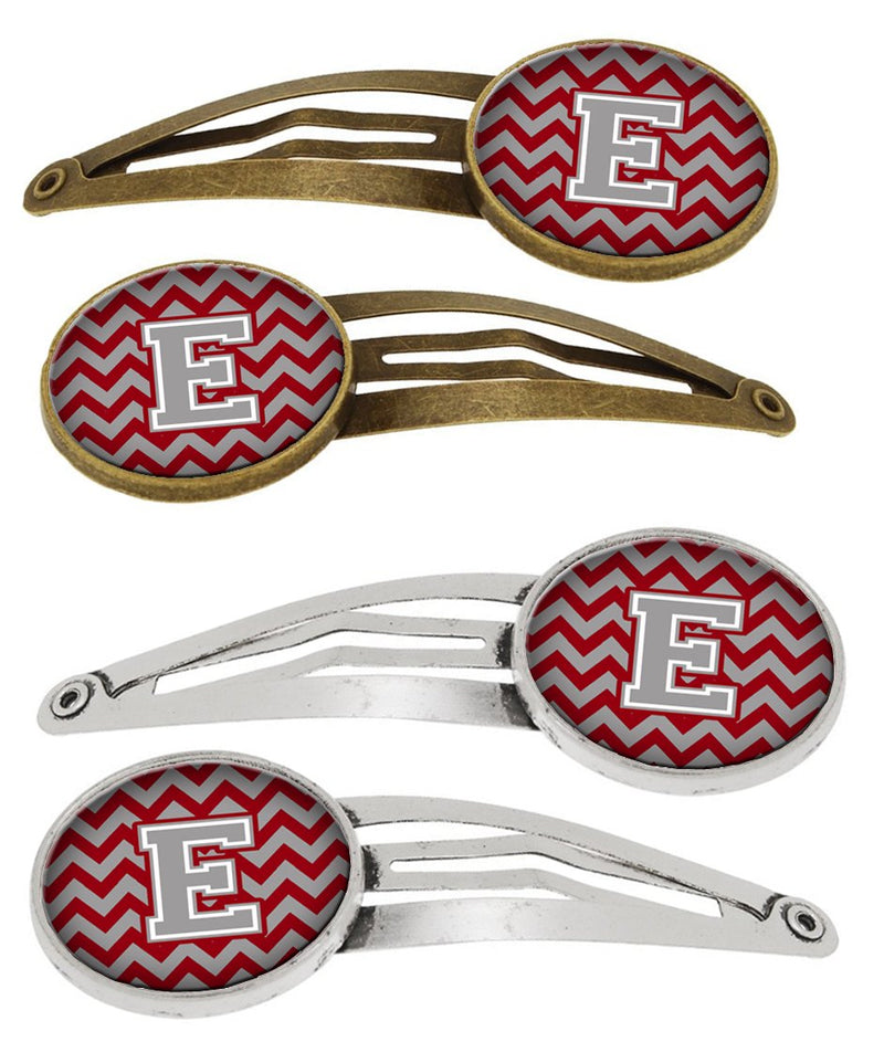 Buy this Letter E Chevron Crimson and Grey Set of 4 Barrettes Hair Clips CJ1043-EHCS4