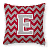 Letter E Chevron Crimson and Grey   Fabric Decorative Pillow CJ1043-EPW1414 - the-store.com