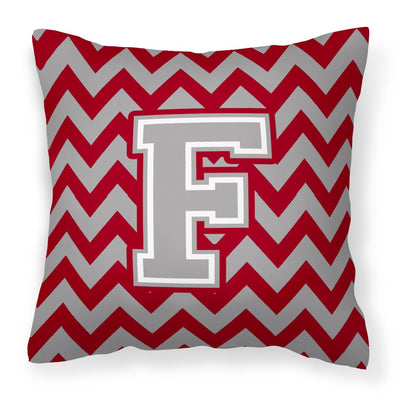 Buy this Letter F Chevron Crimson and Grey   Fabric Decorative Pillow CJ1043-FPW1414