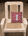 Letter I Chevron Crimson and Grey   Fabric Decorative Pillow CJ1043-IPW1414