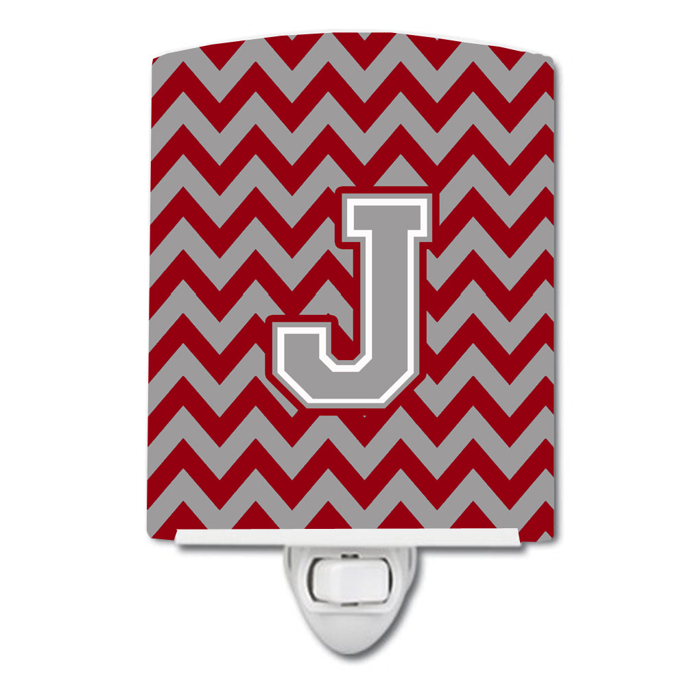 Letter J Chevron Crimson and Grey   Ceramic Night Light CJ1043-JCNL by Caroline's Treasures