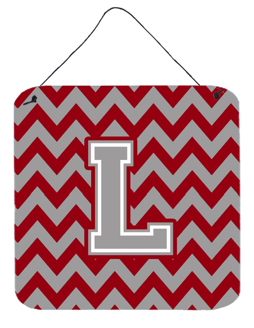 Letter L Chevron Crimson and Grey   Wall or Door Hanging Prints CJ1043-LDS66 by Caroline's Treasures
