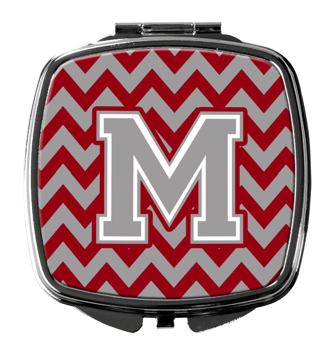 Letter M Chevron Crimson and Grey   Compact Mirror CJ1043-MSCM by Caroline's Treasures