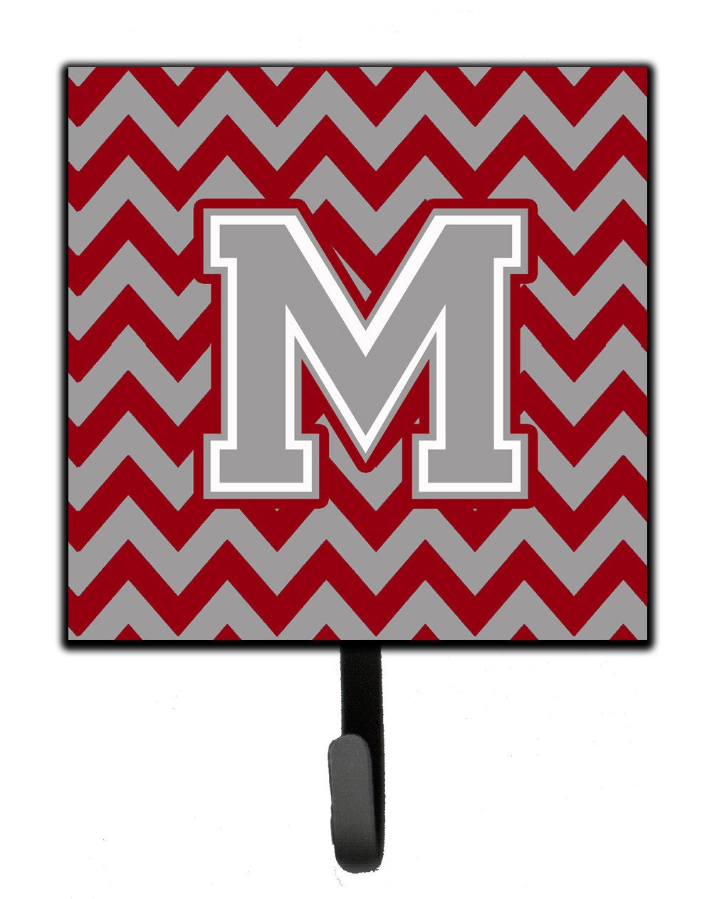 Letter M Chevron Crimson and Grey   Leash or Key Holder CJ1043-MSH4 by Caroline's Treasures