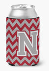 Letter N Chevron Crimson and Grey   Can or Bottle Hugger CJ1043-NCC by Caroline's Treasures