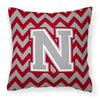 Letter N Chevron Crimson and Grey   Fabric Decorative Pillow CJ1043-NPW1414 - the-store.com