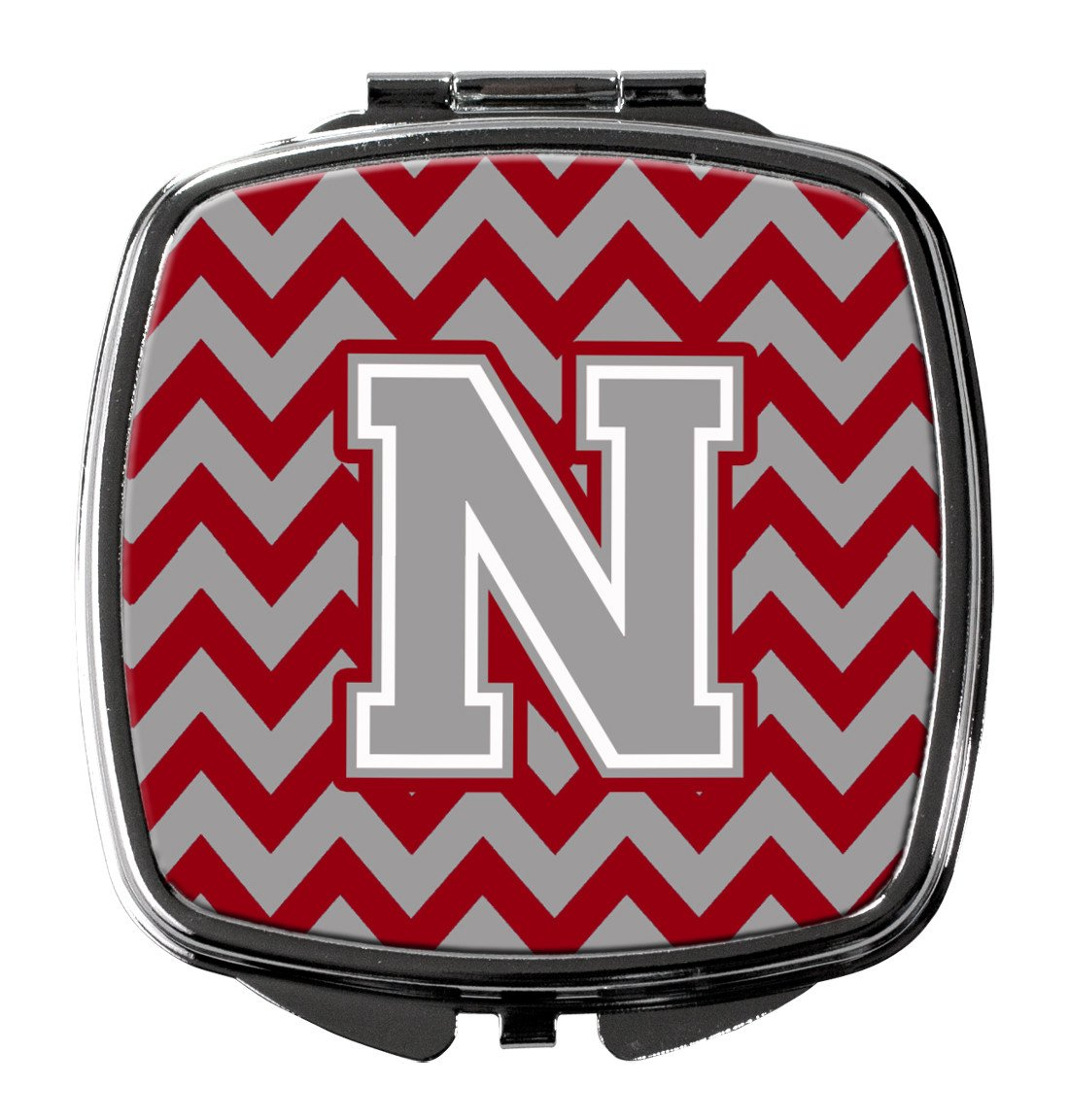 Letter N Chevron Crimson and Grey   Compact Mirror CJ1043-NSCM by Caroline's Treasures
