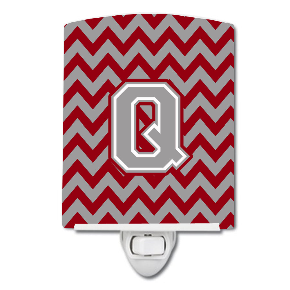 Buy this Letter Q Chevron Crimson and Grey   Ceramic Night Light CJ1043-QCNL