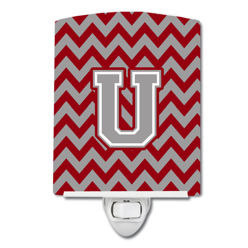 Buy this Letter U Chevron Crimson and Grey   Ceramic Night Light CJ1043-UCNL