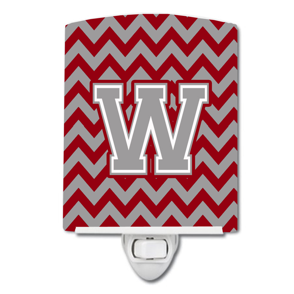 Buy this Letter W Chevron Crimson and Grey   Ceramic Night Light CJ1043-WCNL