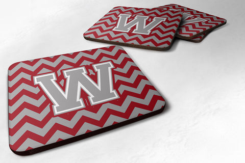 Buy this Letter W Chevron Crimson and Grey   Foam Coaster Set of 4 CJ1043-WFC