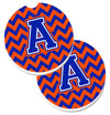 Letter A Chevron Orange and Blue Set of 2 Cup Holder Car Coasters CJ1044-ACARC by Caroline's Treasures