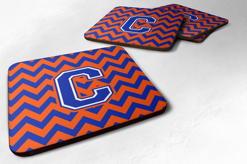 Buy this Letter C Chevron Orange and Blue Foam Coaster Set of 4 CJ1044-CFC