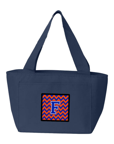 Buy this Letter F Chevron Orange and Blue Lunch Bag CJ1044-FNA-8808